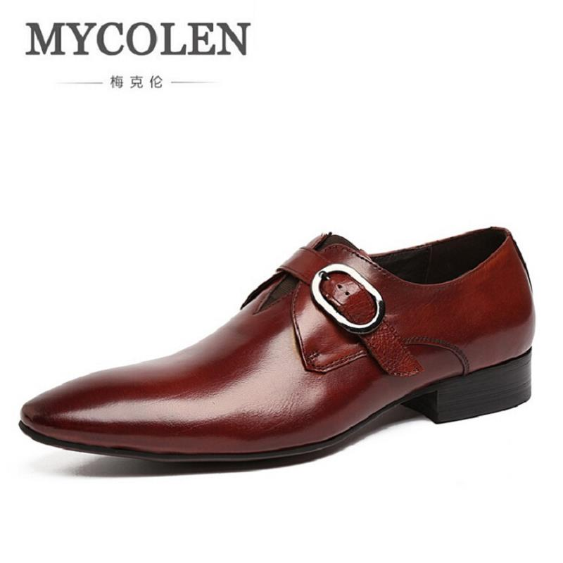 все цены на MYCOLEN Mens Dress Shoes Slip On Party Wedding Shoes Pointed Toe Flats Shoe Man Classic Men's Shoes Sapato Social Masculino в интернете