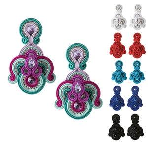 Image 1 - Модные кожаные женские серьги KPacTa, раньше ювелирные изделия, большие Подвесные серьги ручной работы в стиле ретро вечерние праздничный национальный подарок