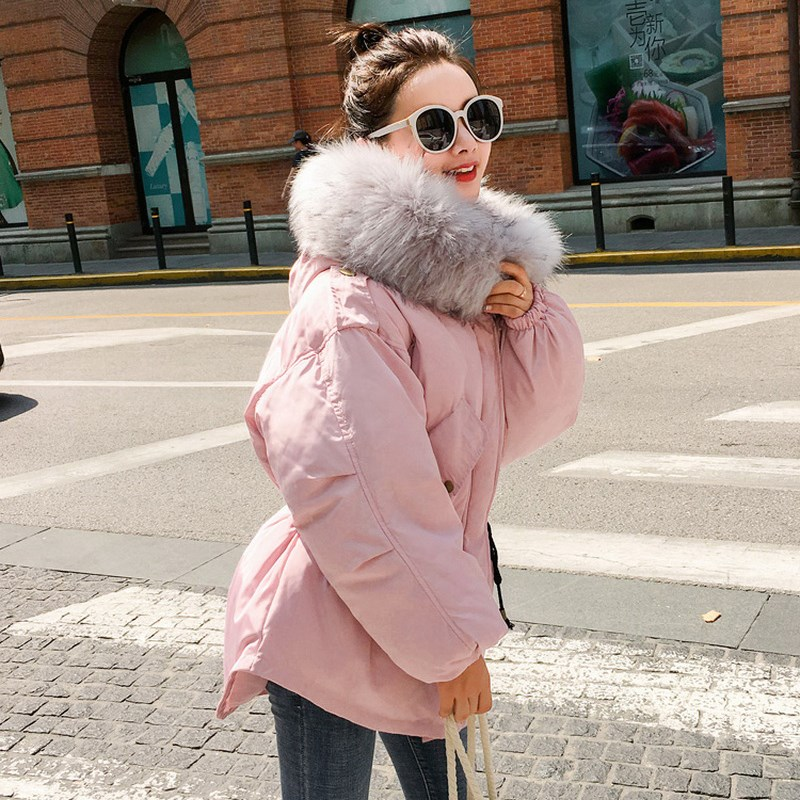Fashion Gray Large Raccoon Fur Collar Winter Jacket Collar Hooded Women Jacket Coats Collar Thicken Warm Padded Cotton Coat thicken warm 2017 new winter jacket women s parkas coats large raccoon fur collar winter jacket collar hooded fashion quality