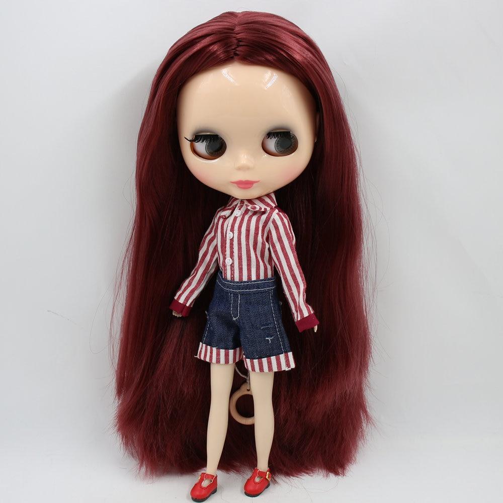 Oyuncaklar ve Hobi Ürünleri'ten Bebekler'de BUZLU Çıplak Blyth doll No. QY12532 Şarap kızıl saç patlama olmadan Ten rengi cilt 1/6 bjd, licca, pullip doll, jerryberry'da  Grup 3
