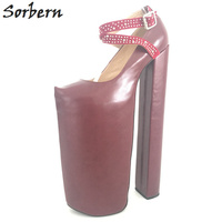 Sorbern 35cm Ultra High Heel Thick Platforms Shoes Women Chunky Heeled Sexy Fetish Shoes Show Runway Pumps Plus Size EU34 46