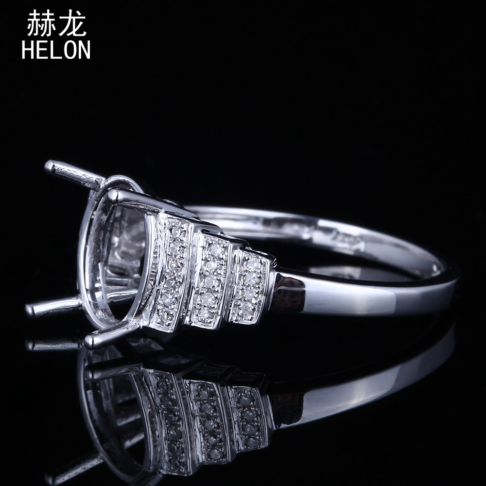 6.5×8.5-7.5×9.5mm Oval Cut 925 Sterling Silver 100% Genuine Natural Diamonds Engagement Wedding Semi Mount Ring  Fine Jewelry