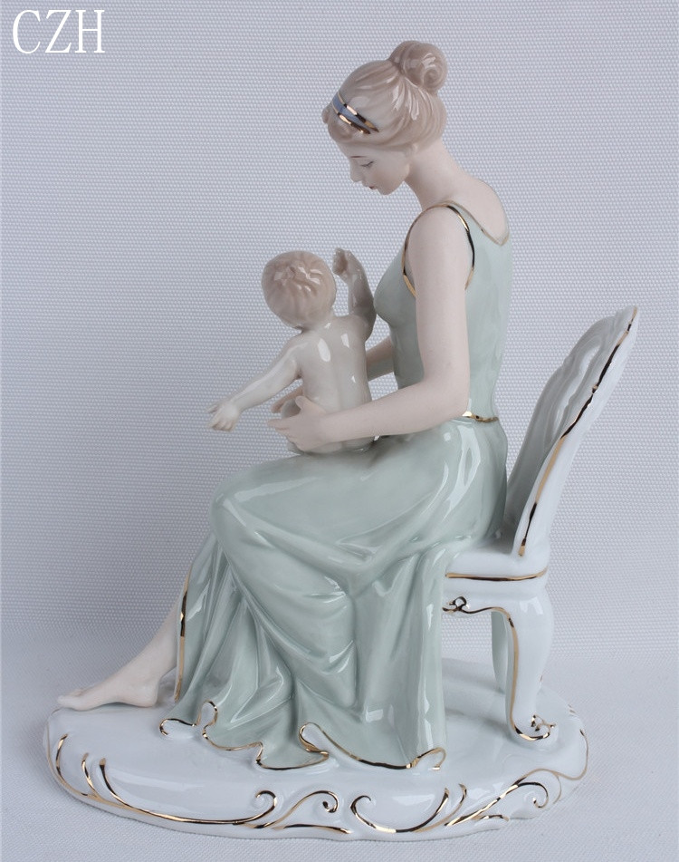 Mother with Twins Artisan Handmade  Figurine Statue Decoration Collectible Hand Painted CraftGoddess ceramic statues
