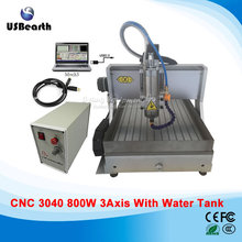 USB port 3 axis CNC router 3040 woodworking machinery 800W spindle, with water tank