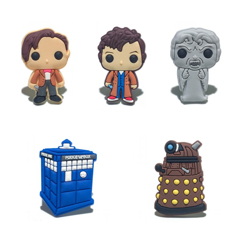 цена 1pcs Doctor Who Shoe Charms PVC Shoes Accessories Decoration Ornaments Small Gifts for Party Shoe Buckles в интернет-магазинах