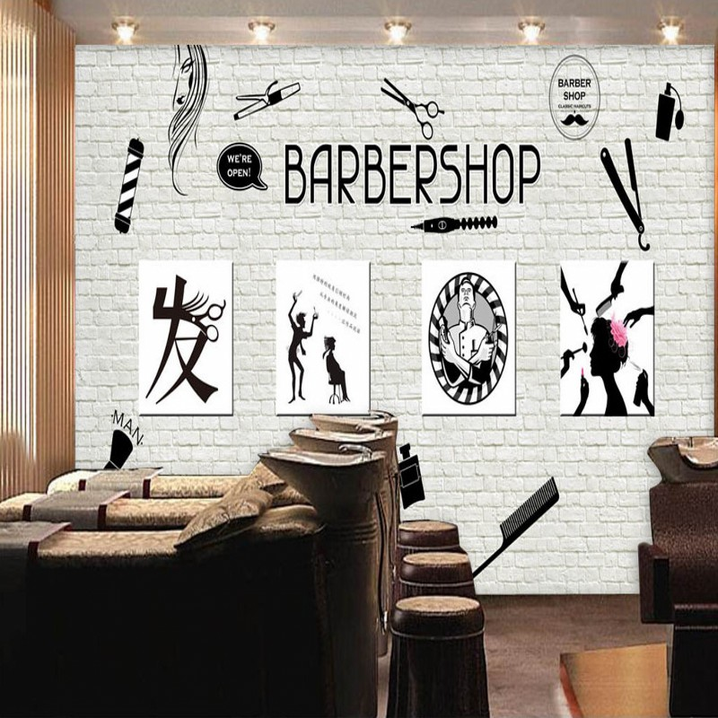 photo wallpaper Barber shop image wall background ...