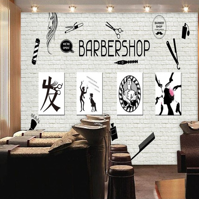 photo wallpaper barber shop image wall background decoration
