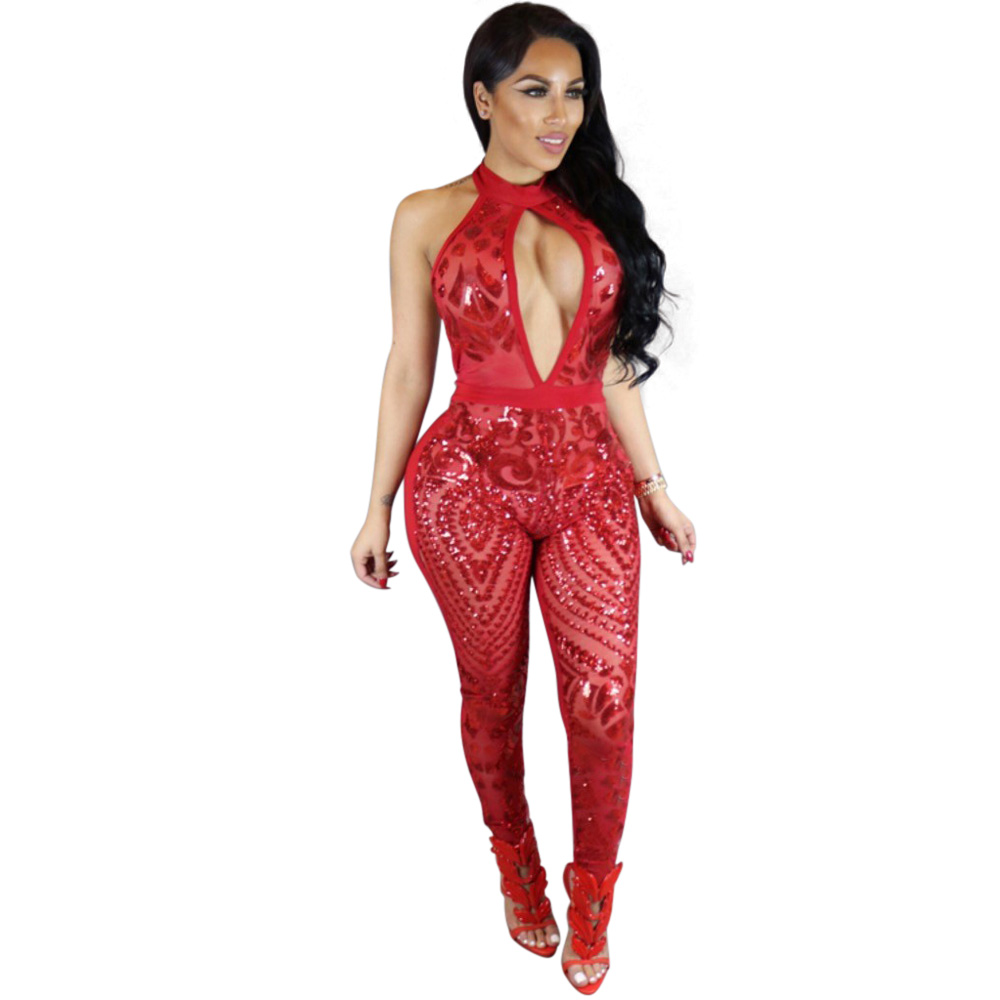 5796b27fc0 Summer Club Style Women Sequined Jumpsuit Mesh See Through Bodysuit ...