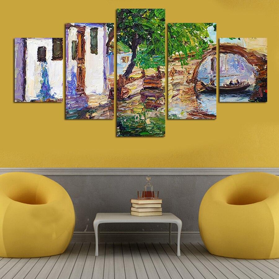 Online Shop 5 Pcs Wall Art Landscape Village Modern HD Picture Home ...