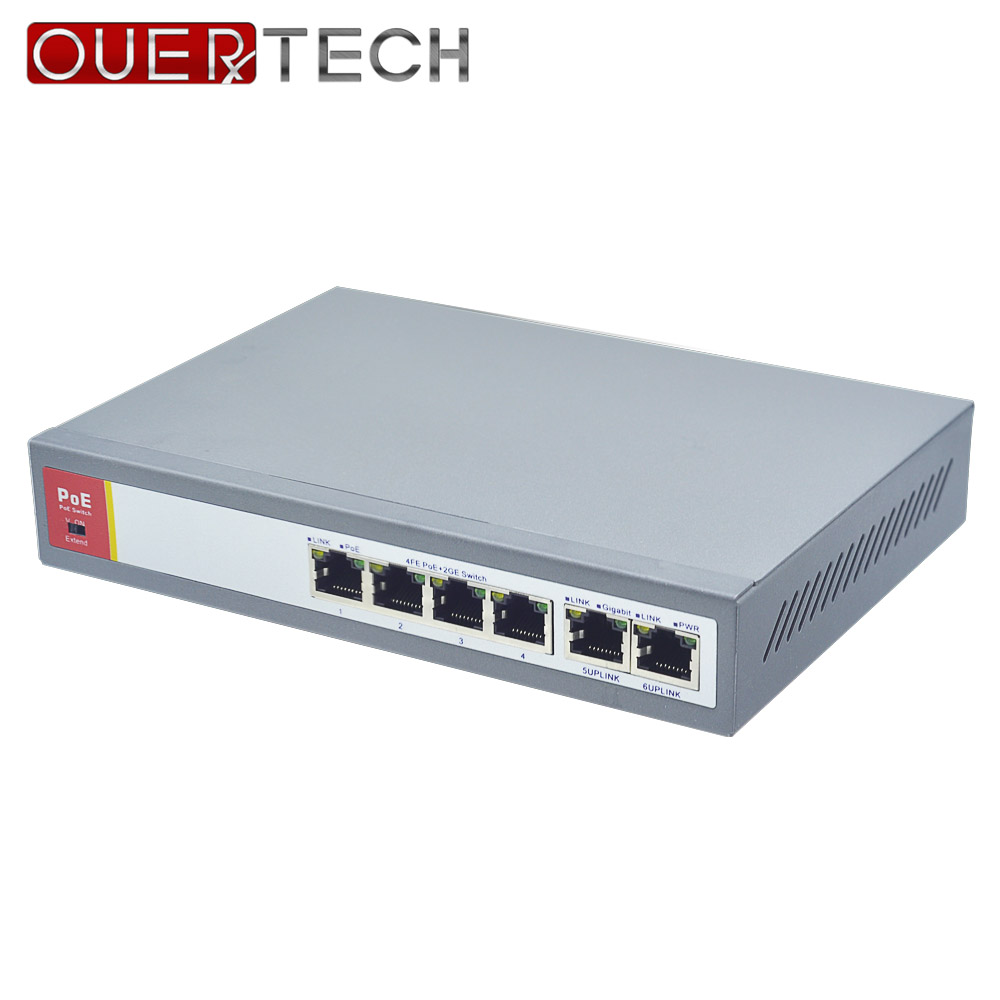 IEEE802.3af 4+2 Port PoE Switch For IP Camera Power Over Ethernet PoE&Optical Transmission For IP Camera System Network Switches