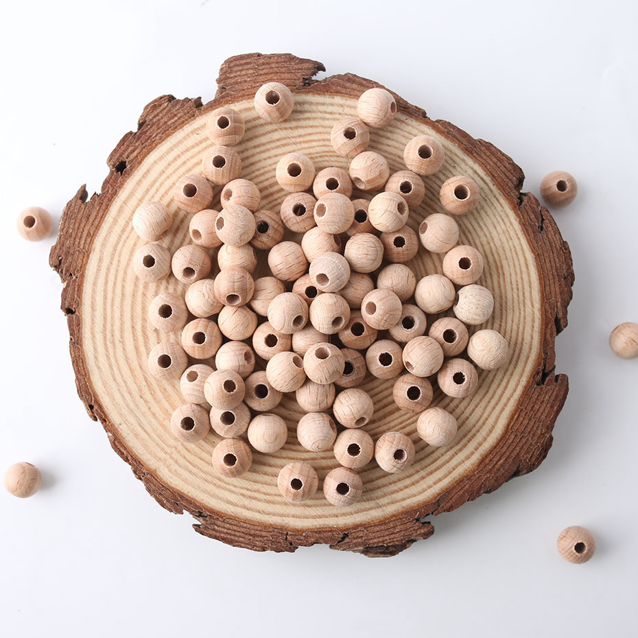 100pcs 10mm Beech Wooden Beads Baby Nursing Accessories Original Unpainted Unfinished Raw Round  DIY Wooden Teether Toys