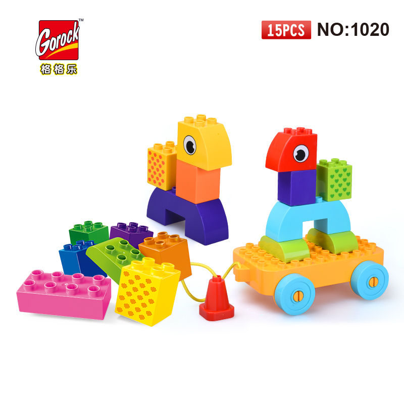 GOROCK Big Building Block Set children Educational Bricks Toys 15Pcs For Birthday Gifts Toy For Baby Compatible With Duploe 81pcs set assemblled gear block montessori educational toy plastic building blocks toy for children fun block board game toy