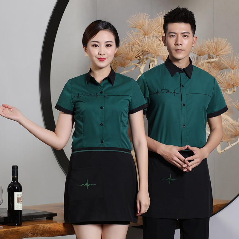Short Sleeve Waiter Overalls Hotel Restaurant Waiter Uniform Teahouse Waitress Uniform Cafe Chef Jacket+ Apron Work Wear 90