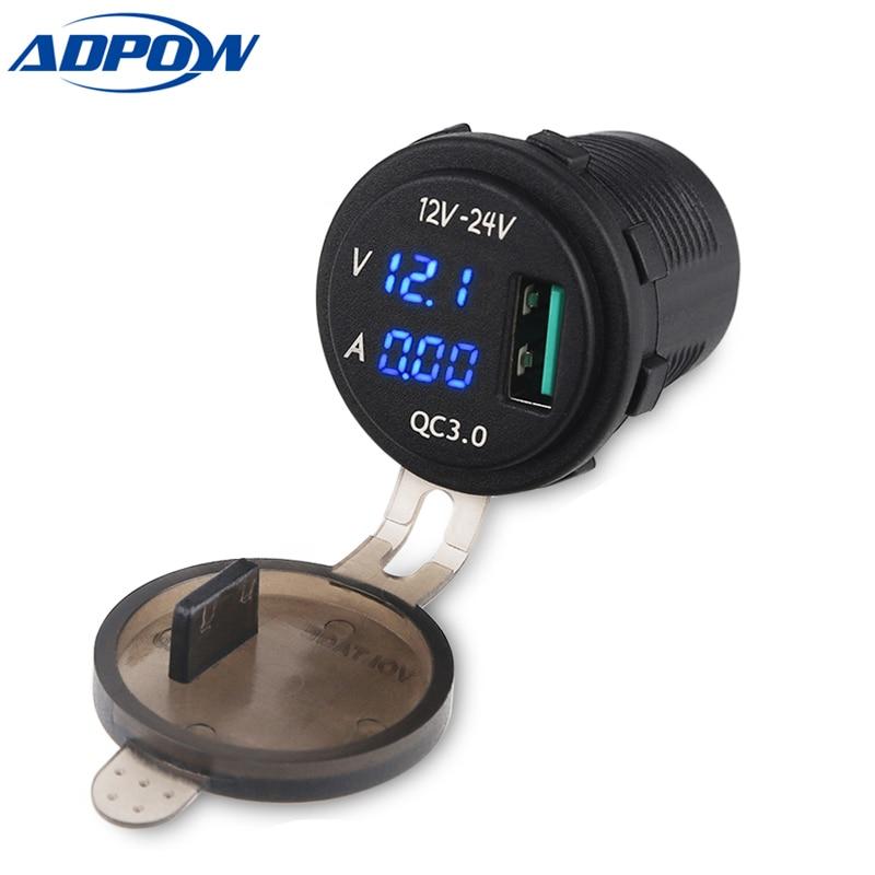 Adpow 12-24 V Usb Ladegerät Steckdose Power Ladegerät Led Digital Display Für Auto Boot Motorrad Ladegerät 3,0