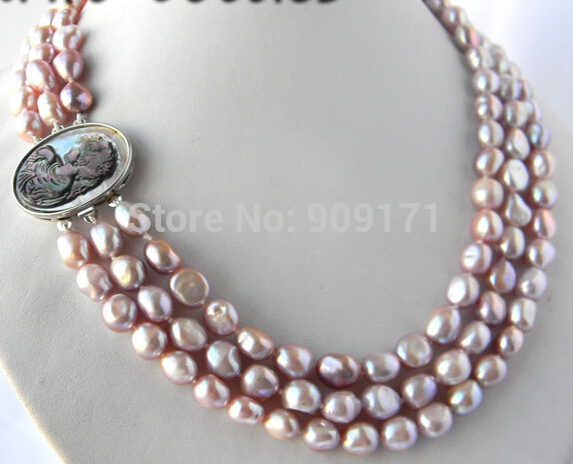 Free Shipping>>>>3Strands 18'' 9mm Lavender Baroque Freshwater Pearl Necklace