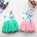 Nuevo 2014 vestido de las muchachas del verano del bebé vestido floral de la muchacha bebe vestido del tutú del bebé con el Arco-nudo niños lindos cintas de encaje princesa vestido
