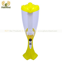 Yellow 3 Liters Beer Tower Dispenser with LED Light Ice Tube BT72