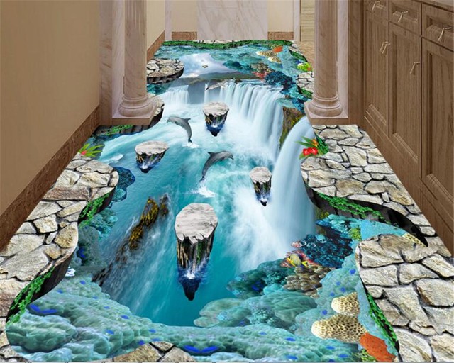 Beibehang Traum Wand Papier Klippen Schwimm Inseln Wasserfälle Vögel  Badezimmer Küchen Gehwege 3d Bodenbelag Gemälde