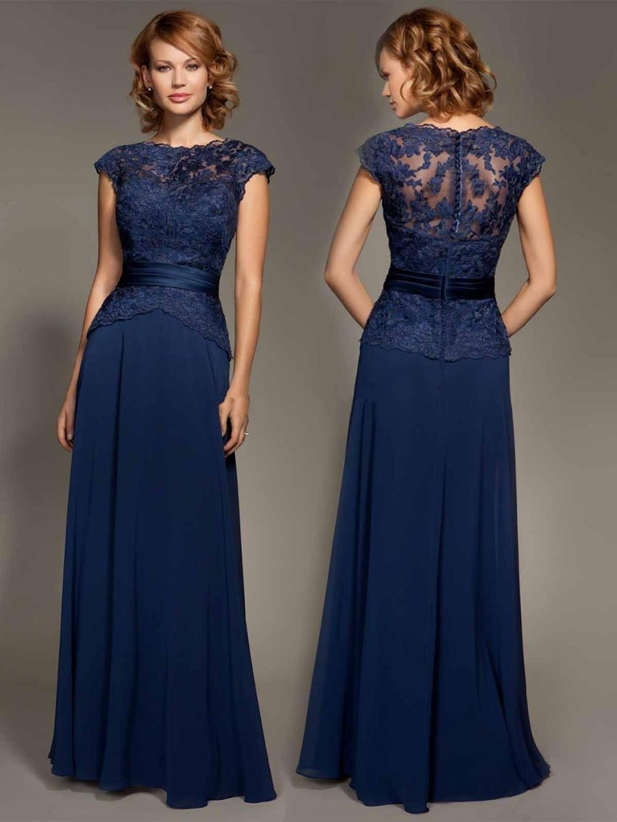 Cheap Dark Navy Blue Lace Cap Sleeve Chiffon Floor Length Evenig Gown Mother Of The Bride Dresses Party Dress 2017 In Mother Of The Bride Dresses From