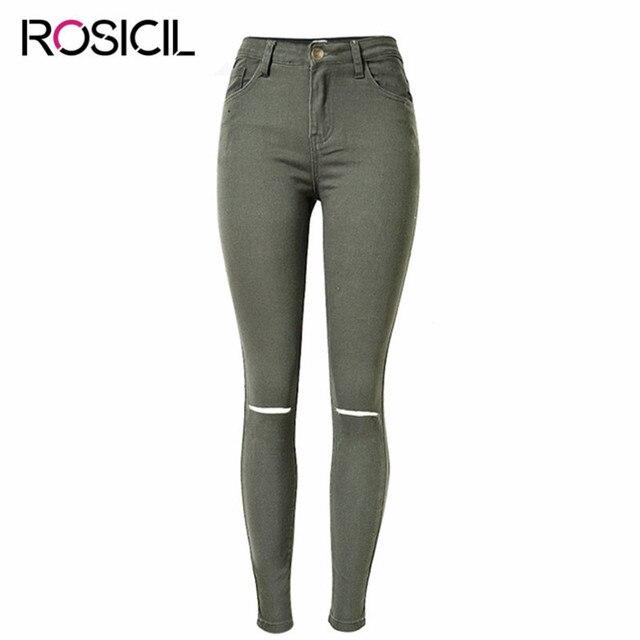8c5bd45b2 Mujer Denim lápiz Pantalones señora moda cobre roto Vaqueros nuevo estilo  femenino flaco elasticidad Vaqueros mujeres
