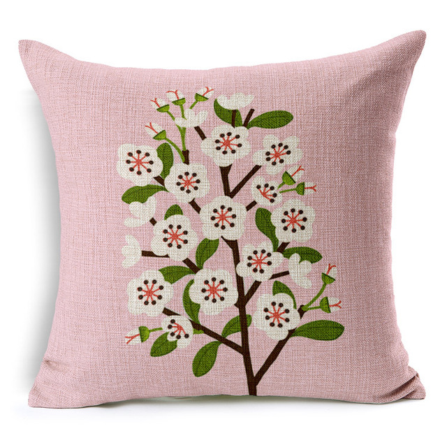 Peach flower cushion cover 7 styles blue and pink pillow case peach flower cushion cover 7 styles blue and pink pillow case chinese culture linen cotton pillow mightylinksfo