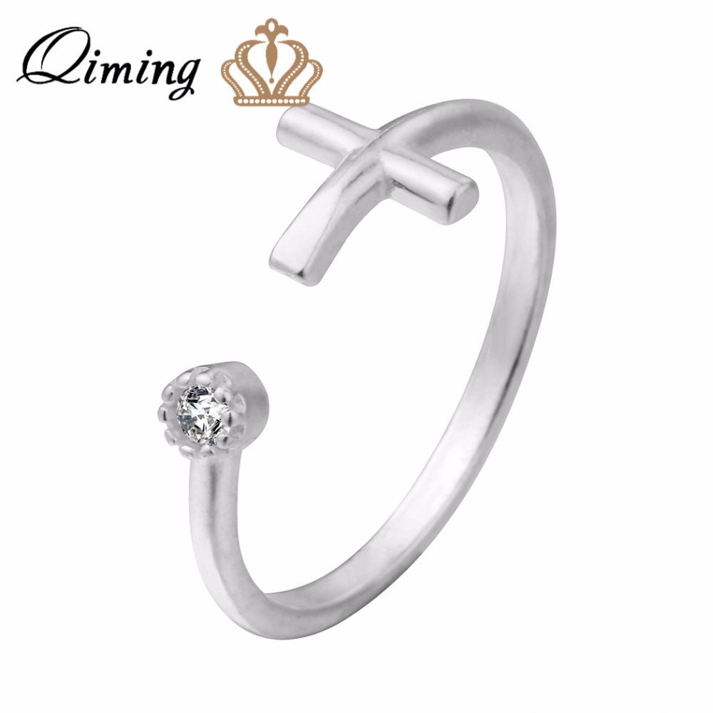Simple Cross Crucifix Ring Adjustable Open Ring Jewelry Women Wedding Gifts