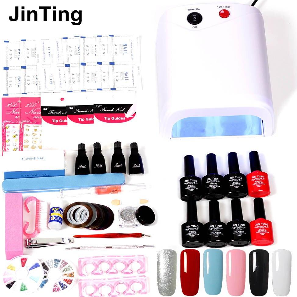 Jinting Nail Art Set Uv Led Lamp Dryer 6 Color Gel Nail Polish Set