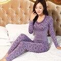 2016 primavera ropa de dormir de las mujeres pijamas conjuntos jacquard o-cuello largo pijama traje floral bodycon mujeres traje de ropa interior térmica suave