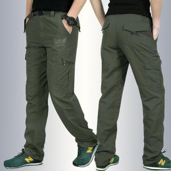 Na zewnątrz szybkoschnący spodnie do wędrówek pieszych męskie letnie piesze wycieczki wędkowanie spodnie wojskowe spodnie do wędrówek pieszych wodoodporne spodnie duży rozmiar cienka tanie i dobre opinie Pełnej długości Camping i piesze wycieczki Poliester Zipper fly Pasuje prawda na wymiar weź swój normalny rozmiar