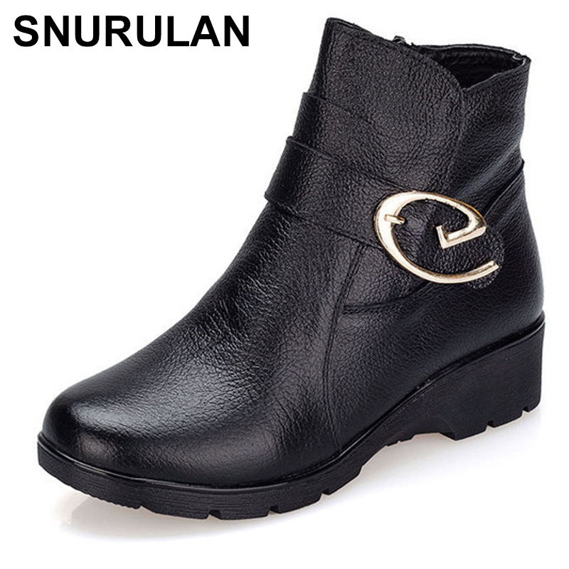 SNURULAN 2017 Winter Shoes Woman Genuine Leather Snow Boots New Fashion Casual W