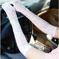 2014 nuevas señoras de Las Mujeres Guantes de encaje guantes de protección solar UV de verano larga sección de guantes delgados Largo 43 cm rosa/negro/rojo/color de la piel c