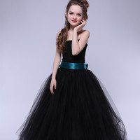 Handmade Girls Tutu Fluffy Prom Dress With Ribbon Straps Elegant Kids Girls Evening Dress For Party