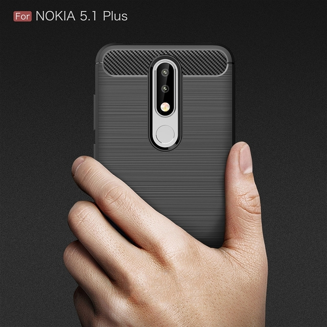 sports shoes d6238 fa40a US $1.88 5% OFF|For Nokia 5.1 Plus / Nokia5.1Plus Carbon Fibre Case Slim  Rugged Armor Shockproof Soft Rubber Silicone Phone Cases Cover Case-in  Fitted ...