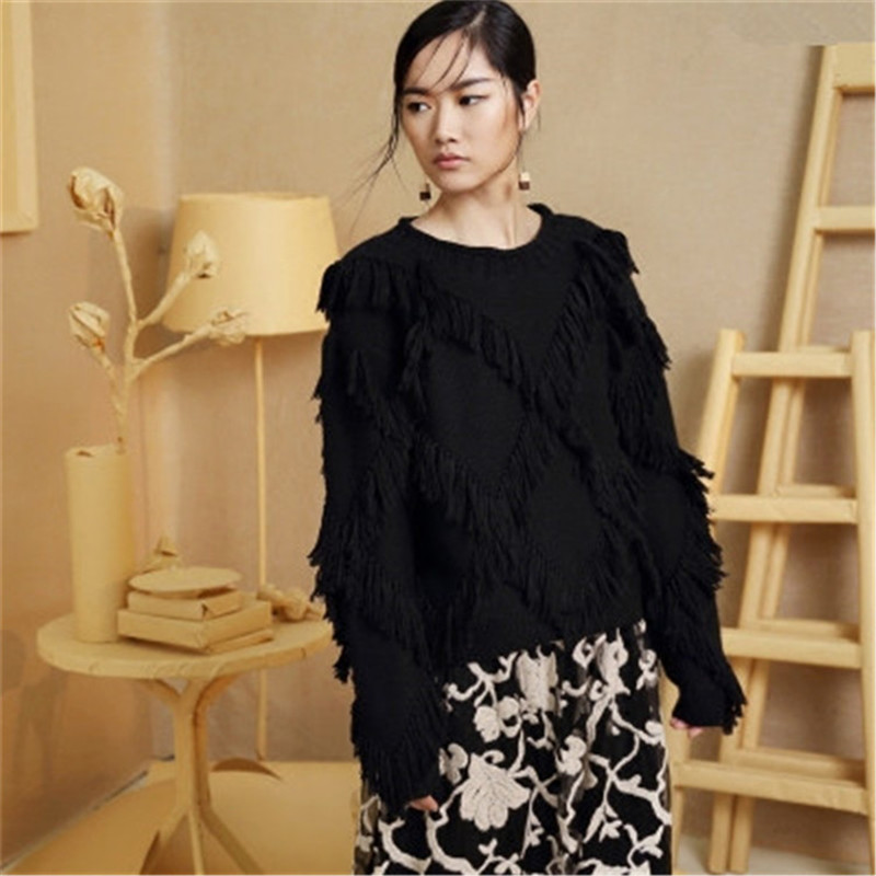 100%hand Made Pure Wool Oneck Knit Women Streetwear Solid H-straight Argyle Tassel Short Pullover Sweater One&over Size