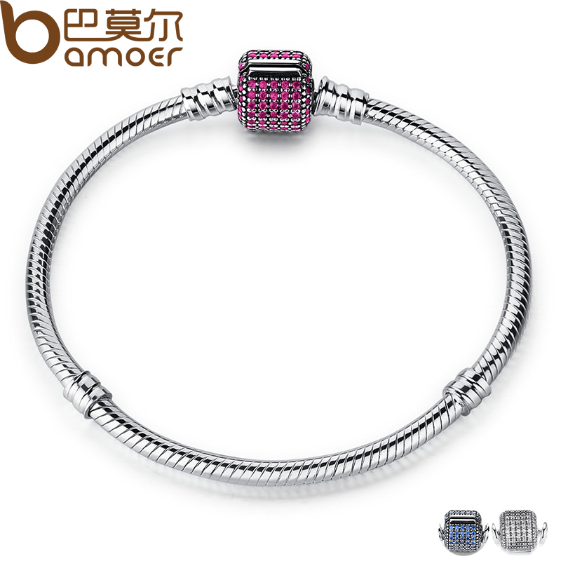 BAMOER Classic 100% 925 Sterling Silver Basic Chain with Blue Snake Clasp fit Charm Bracelets & Necklaces Fashion Jewelry PAS914