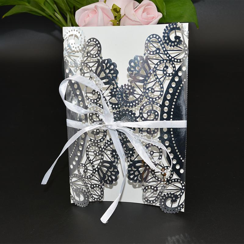 50pcs/lot Paper Invitation Card Envelope With Bowknot Hollow Flower Design Wedding Party Invitation Letter wd905