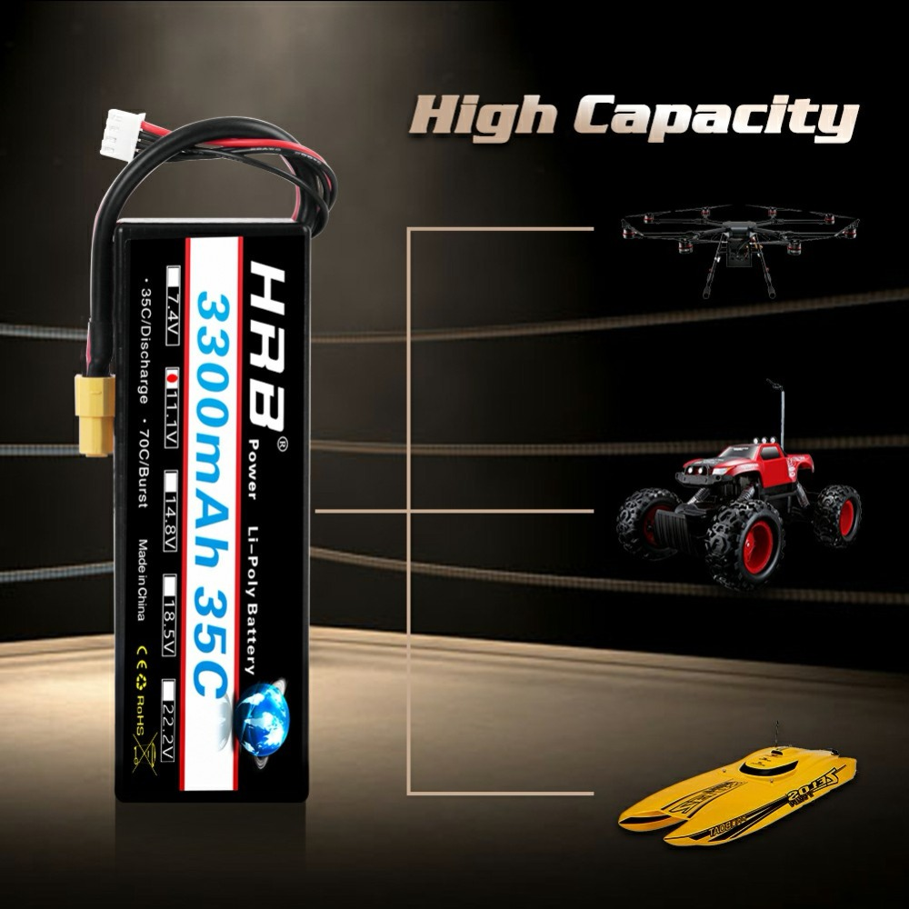 F-cloud HRB Lipo batterie 3 S 11.1 V 3300 mAh 35C RC voiture étui rigide pour 1/10 RC voiture bateau 350 QX2 QX3 quadrirotor
