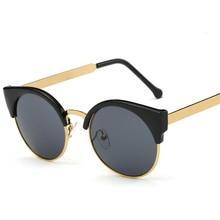 """Модные женские солнцезащитные очки """"кошачий глаз"""", полуоправа, круглые очки, сексуальные винтажные очки """"кошачий глаз"""", оправа, брендовые дизайнерские очки, UV400"""