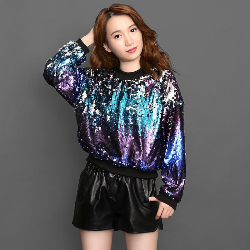 Laser Symphony Jersey Hoodies Iridescent Sequin Hologram Bling Bling  Sweatshirts Women Rainbow Pullovers Hip hop dance shirt-in Hoodies    Sweatshirts from ... 3935d0b7b898