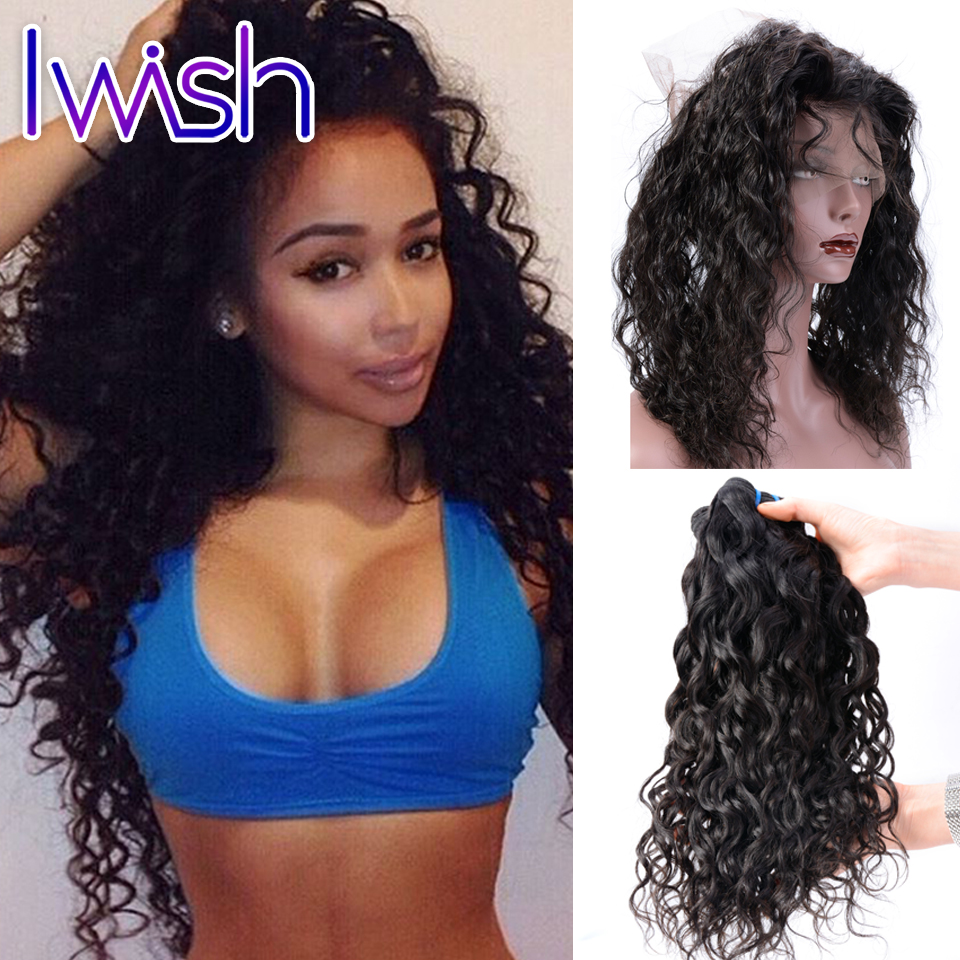 ФОТО 360 Lace Frontal Closure With 3 Bundles Water Wave Hair Brazilian Virgin Hair Water Wave With Frontal With Baby Hair Preplucked