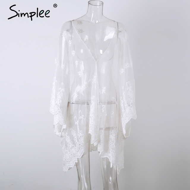 Simplee Flower embroidery lace chiffon blouse shirt women Sexy batwing sleeve cardigan Summer beach loose kimono blouse