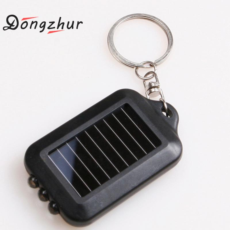 Black Mini Portable Solar Power 3 LED Light Keychain Keyring Torch Flashlight Outdoor Emergency Light Tools