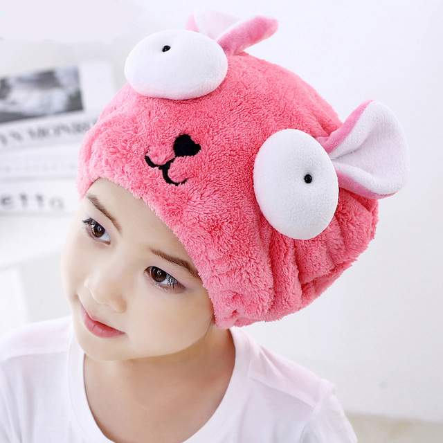 Cute Bath Towel Hair Dry Hat Shower Cap Strong Absorbing Drying Long – Velvet Ultra -Soft Children 's Special Dry Hair Cap Towel