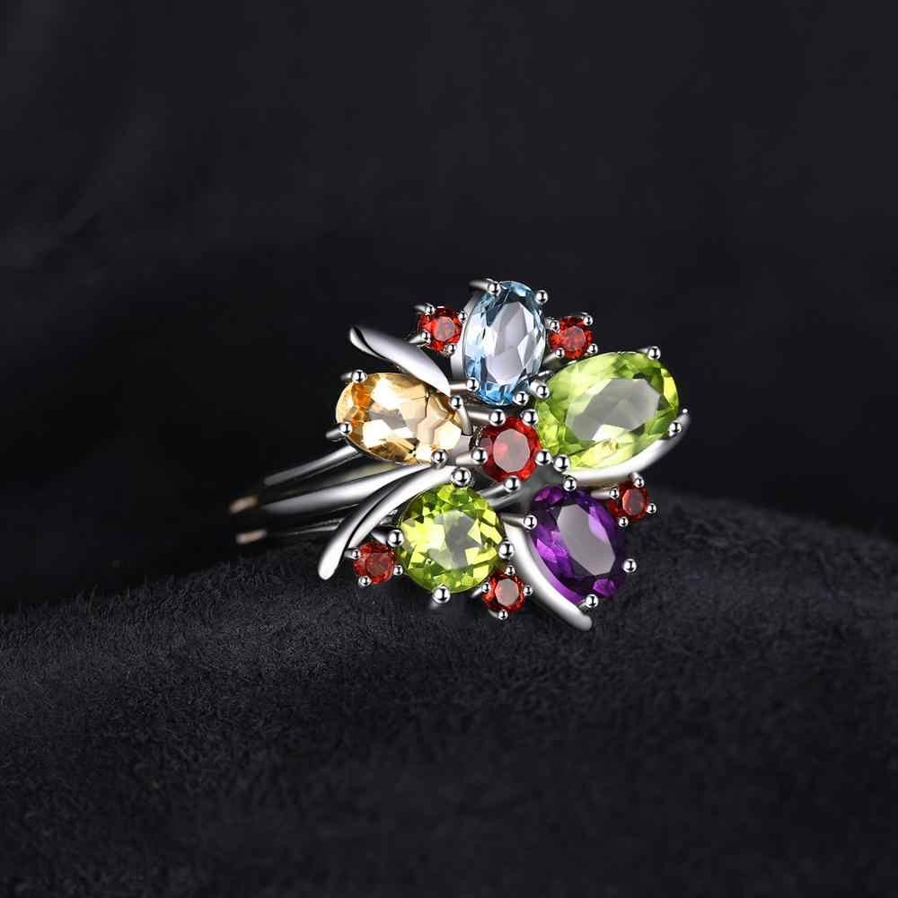JPalac ดอกไม้ธรรมชาติ Citrine Garnet Peridot Topaz แหวนเงิน 925 แหวนเงิน 925 เครื่องประดับอัญมณี