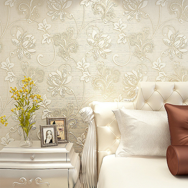 10m luxury italian silk fabrics vintage 3d floral wall for Luxury 3d wallpaper