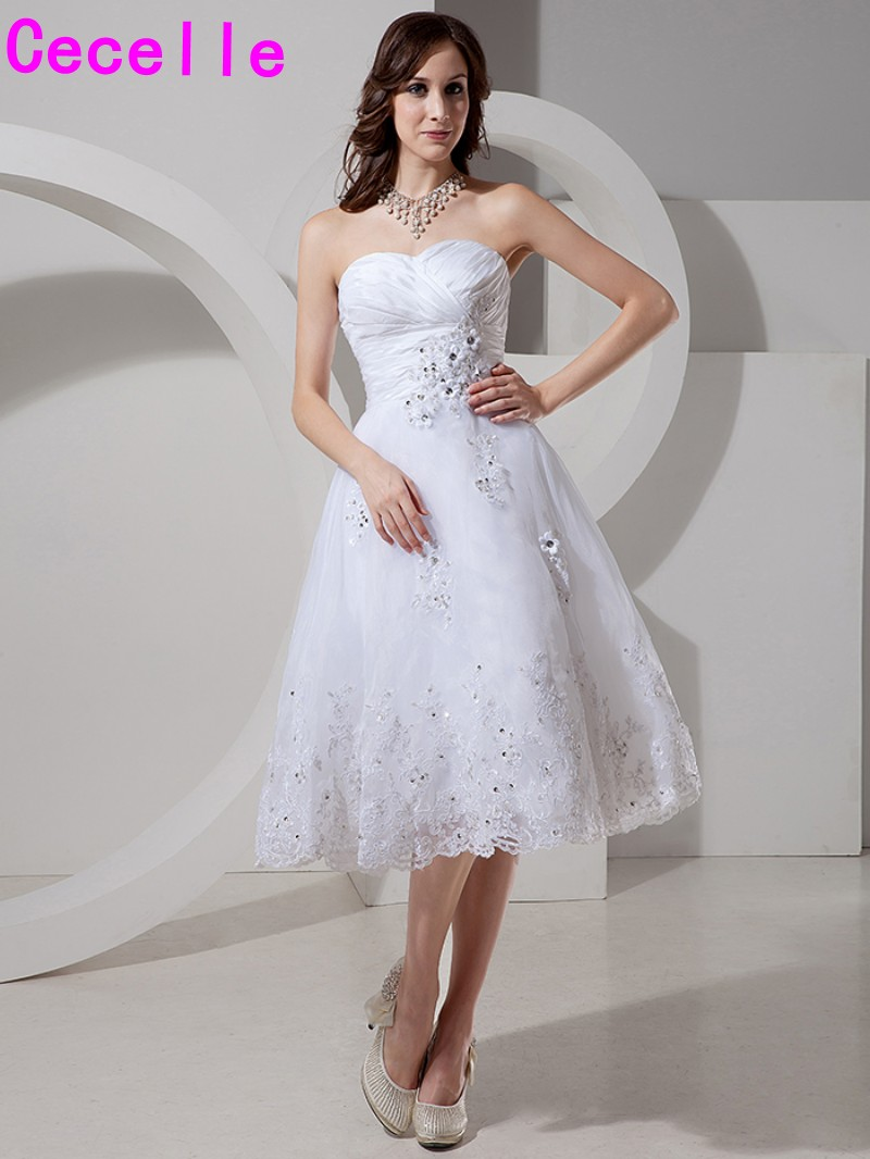 2017 Short White Informal Wedding Dresses Knee Length Sweetheart ...