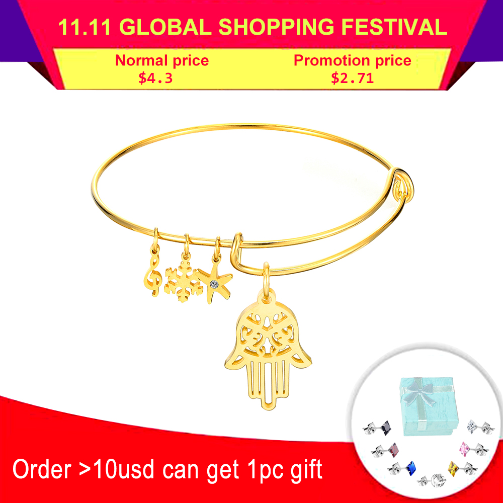 LUXUSTEEL Gold Color Hand Pendants Stainless Steel Adjustable Bracelets Bangles For Women/Girl Party Jewelry Gift