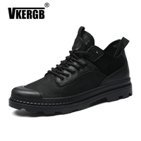 VKERGB Autumn Men Shoes Sheepskin Martin Boots Winter New Warm Boots England Black Wild British Middle Help Tooling Desert Boots