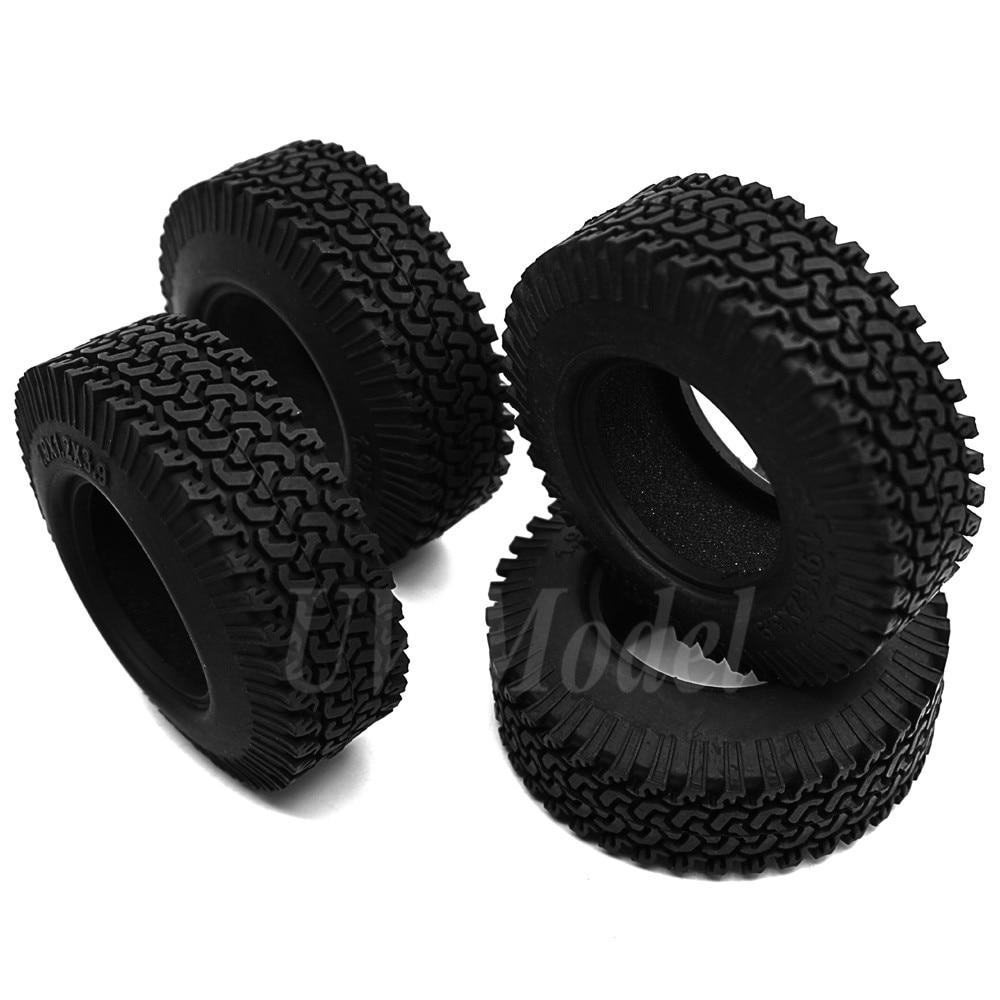 4Pcs RC 1:10 Crawler Beadlock Wheels Tire 1.9 Inch Rubber Wheel Tire 98mm Tyre For RC Car Tamiya Truck F350  Axial SCX10