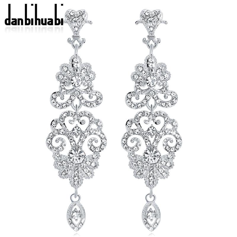 2018 Romantic Silver Color Long Drop Earrings For Women Rhinestone Flowers Earrings Bridal Wedding Party Costume Jewelry Earring